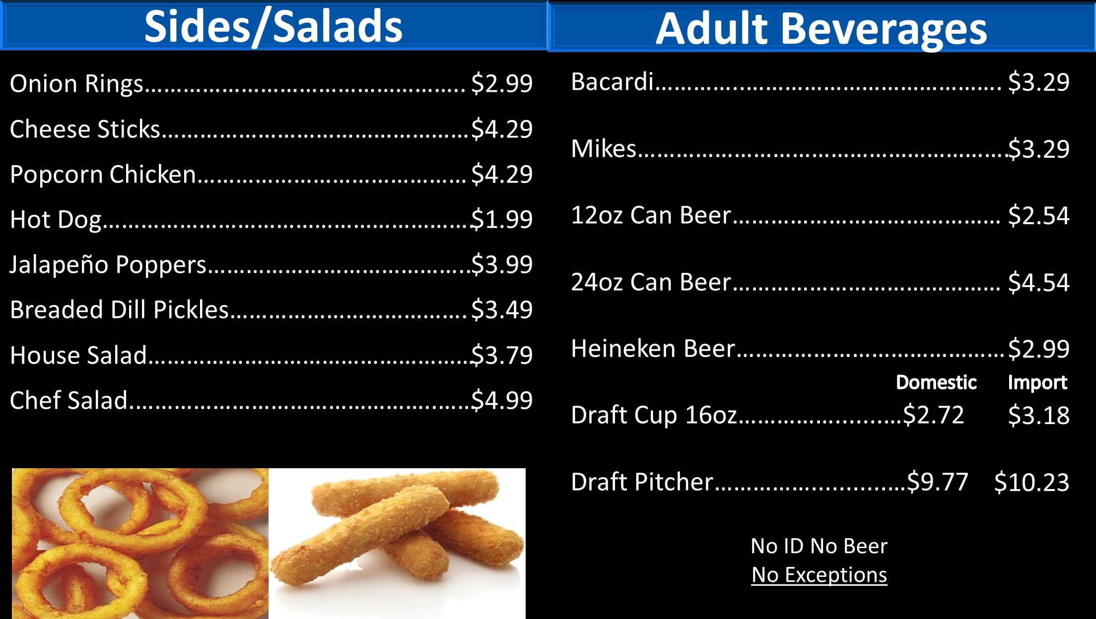 Northside lanes info snack bar snack bar menu for Snack bar menu